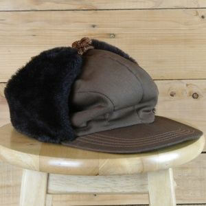 Vintage Brown Faux Fur Lined Trapper Hat- USA Made